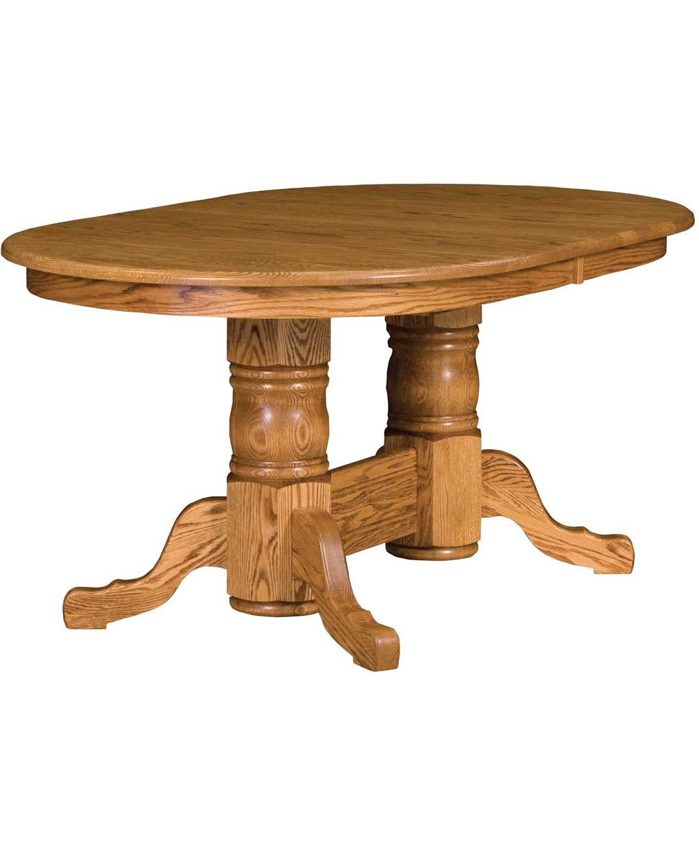 Traditional double pedestal dining table amish direct for Pedestal dining table