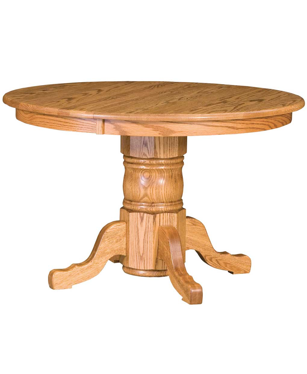 Traditional single pedestal dining table amish direct for Traditional dining table