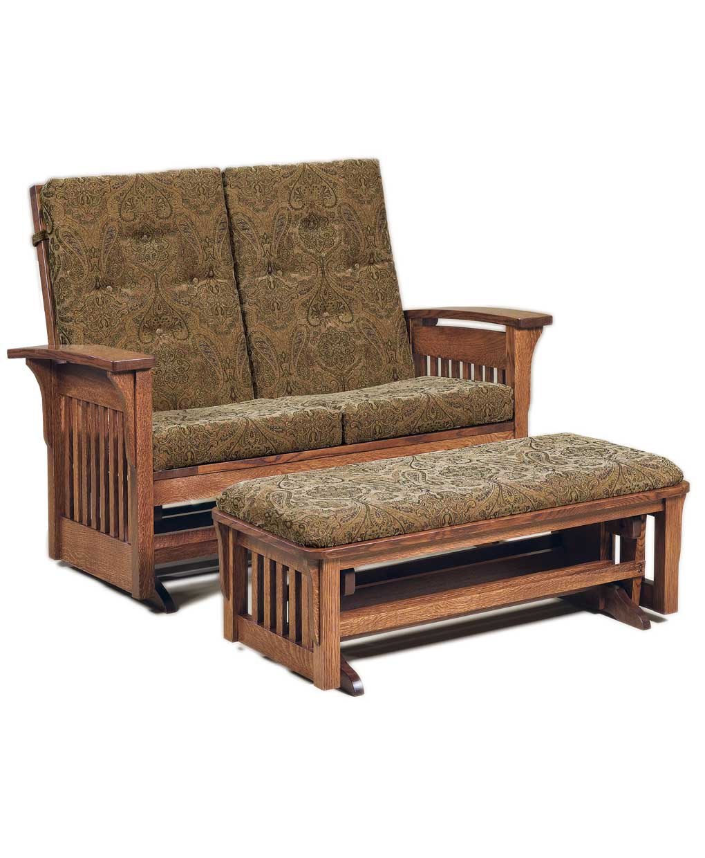 Bow Arm Slat Loveseat Glider Amish Direct Furniture