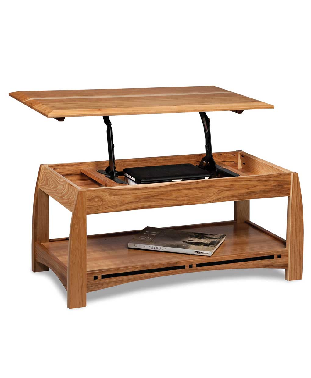 Boulder Creek Open Coffee Table With Lift Top Amish Direct Furniture