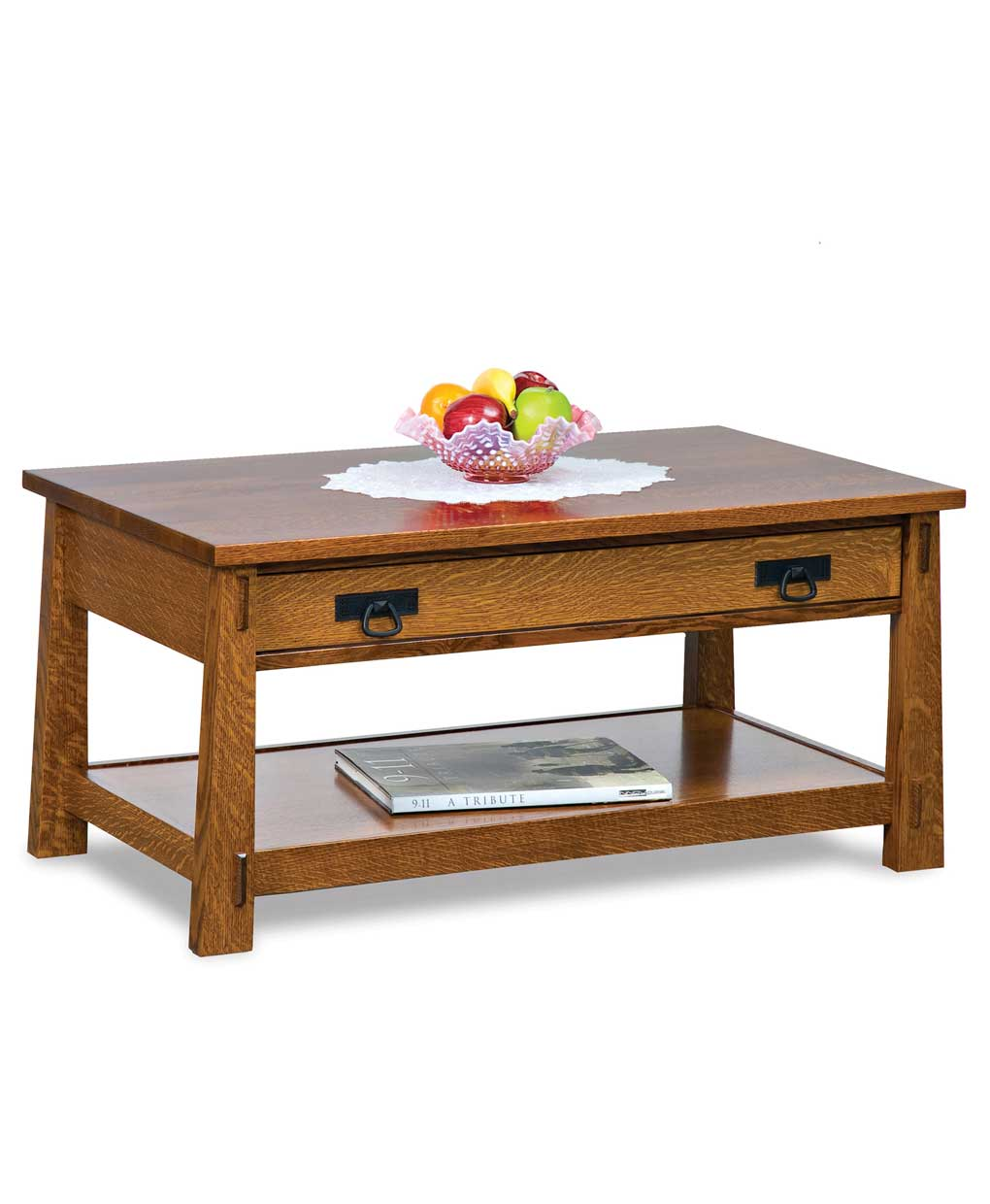 Modesto Open Coffee Table With Drawer Amish Direct Furniture