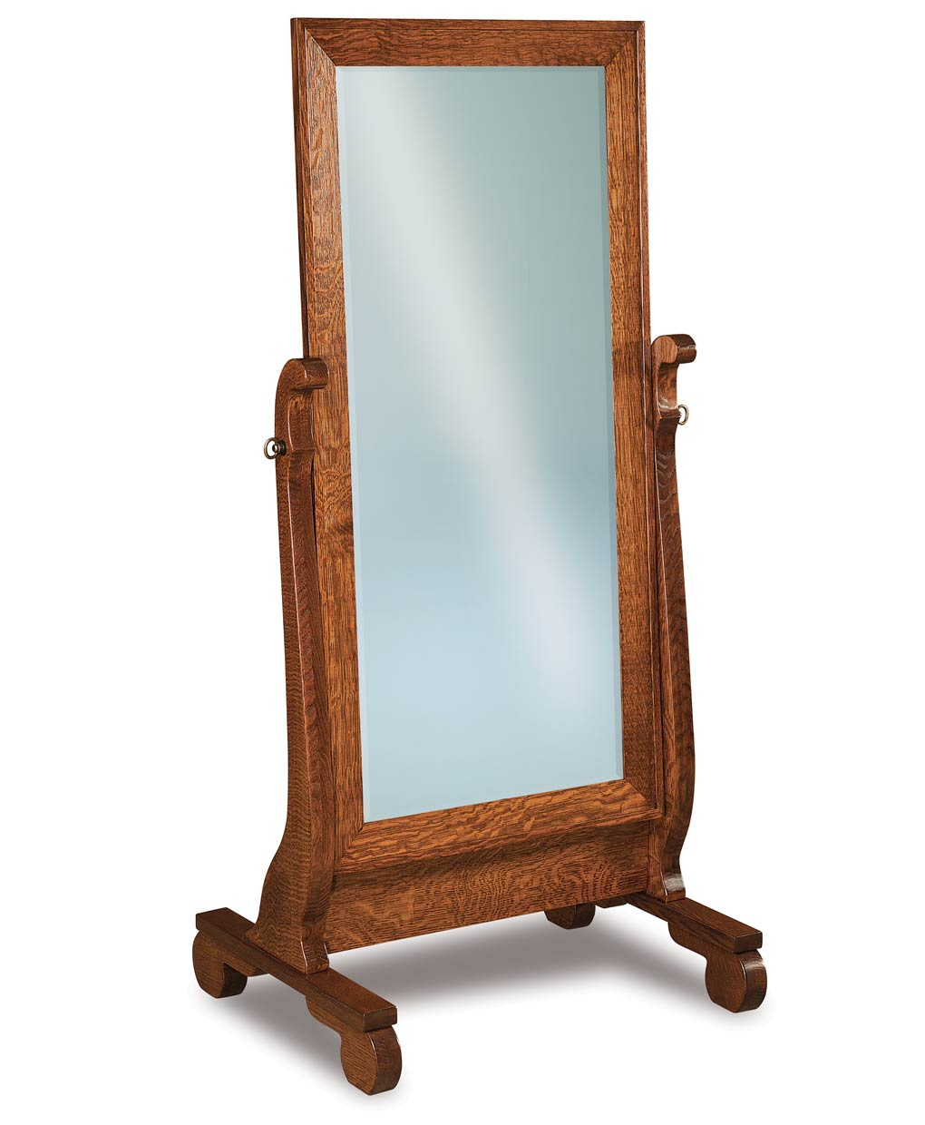 Old classic sleigh beveled cheval mirror amish direct for Classic mirror