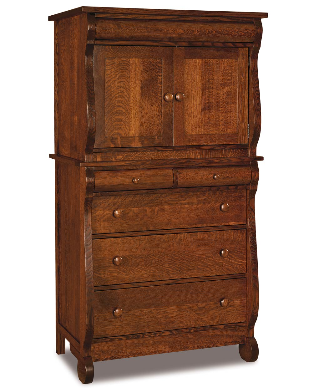 old classic sleigh chest armoire 2 piece amish direct