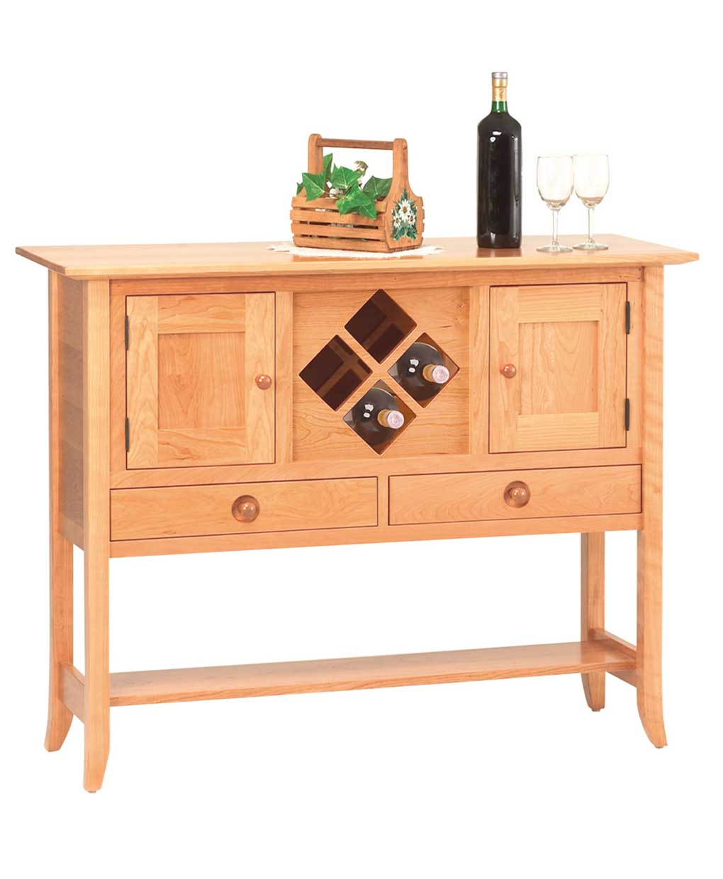 shaker hill sideboard with wine rack amish direct furniture. Black Bedroom Furniture Sets. Home Design Ideas