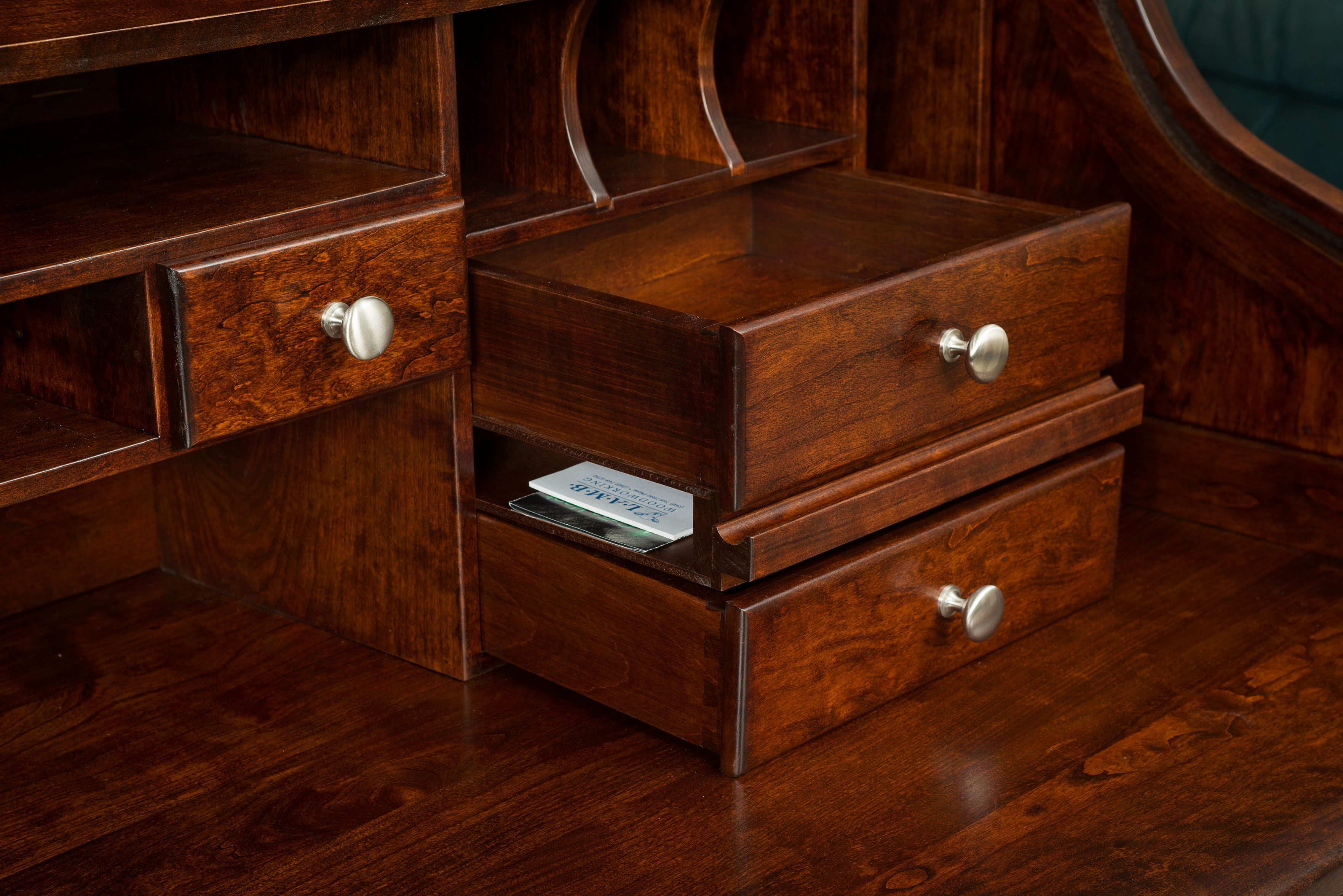 Berkley double pedestal rolltop desk amish direct furniture - Bedroom sets with hidden compartments ...