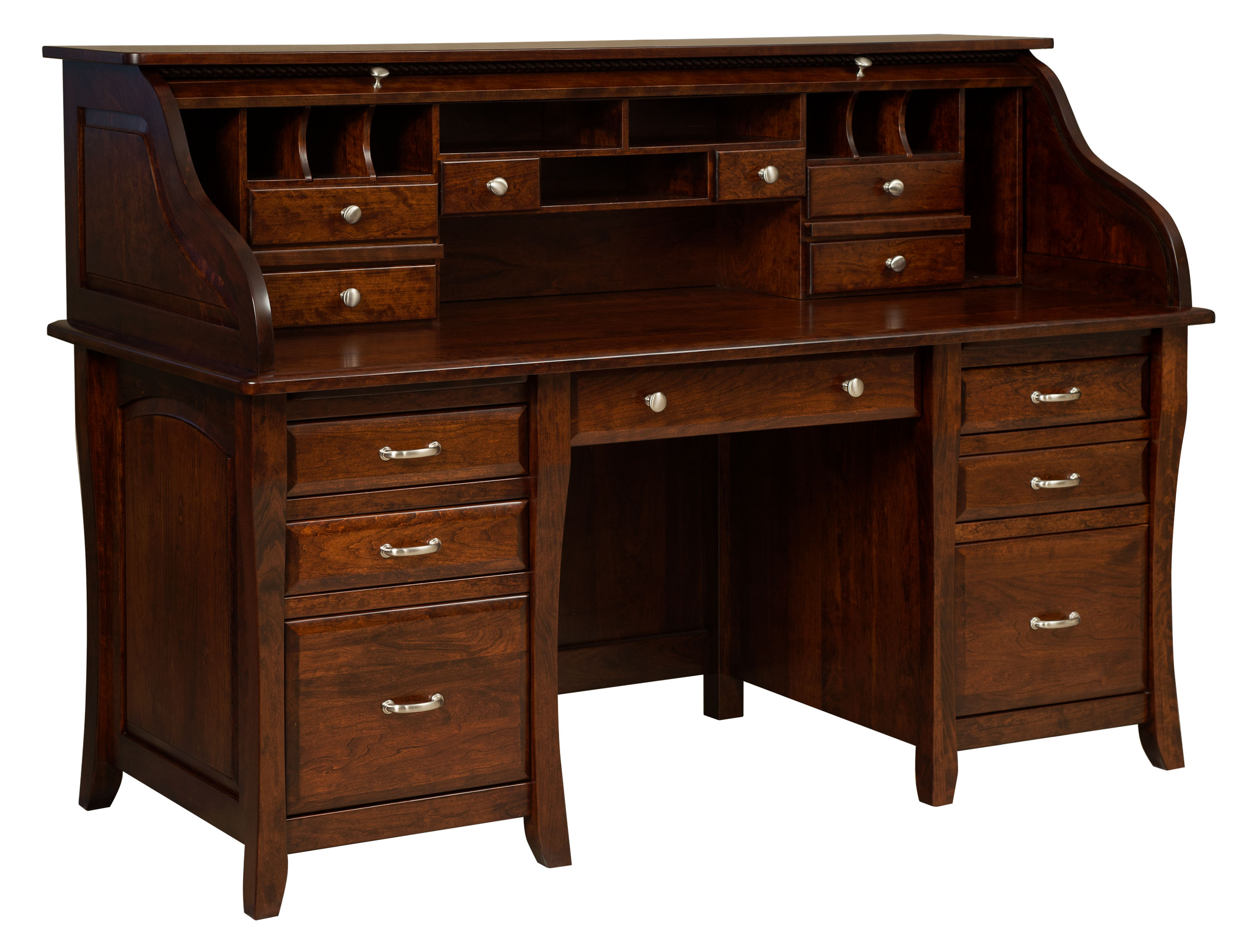 Berkley Double Pedestal Rolltop Desk Amish Direct Furniture