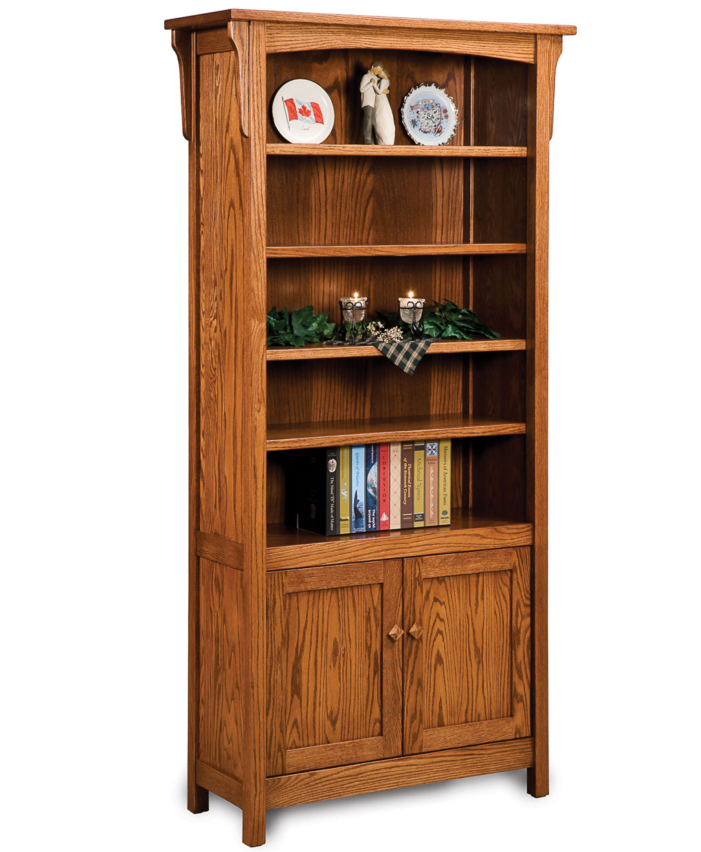 Bridger Mission Bookcase With Doors Amish Direct Furniture