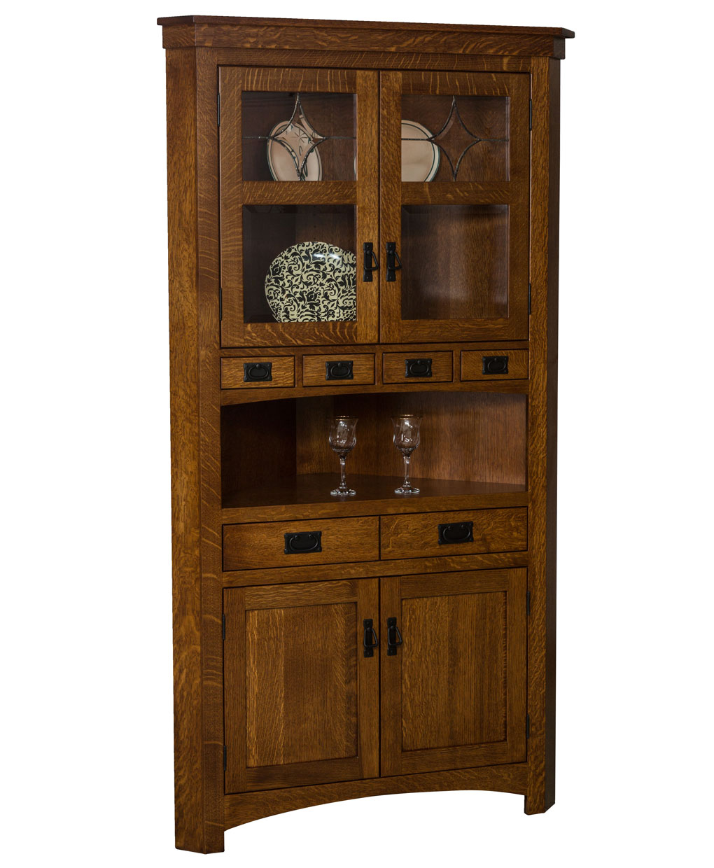 Cape cod corner curio cabinet amish direct furniture for Curio cabinet