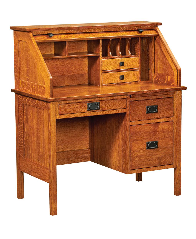 Single Pedestal Post Mission Rolltop Desk Amish Direct
