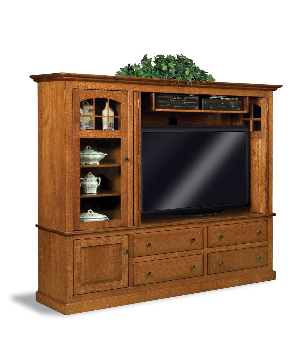 Media Furniture Cabinets: Contemporary Mission Media Cabinet With Stereo Cabinet
