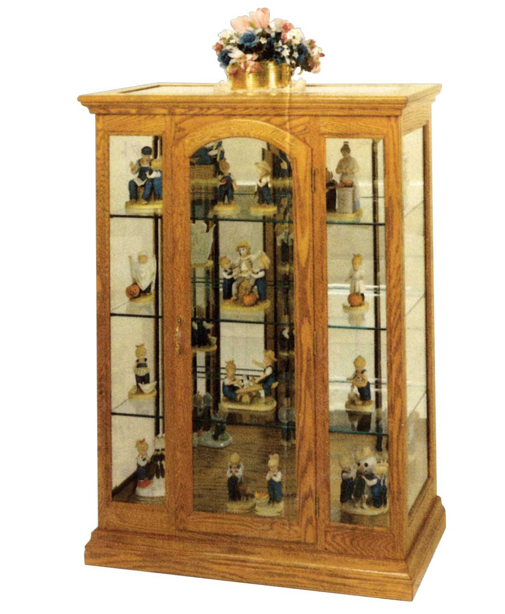 Curio cabinet with a beveled glass inlay amish direct for Curio cabinet