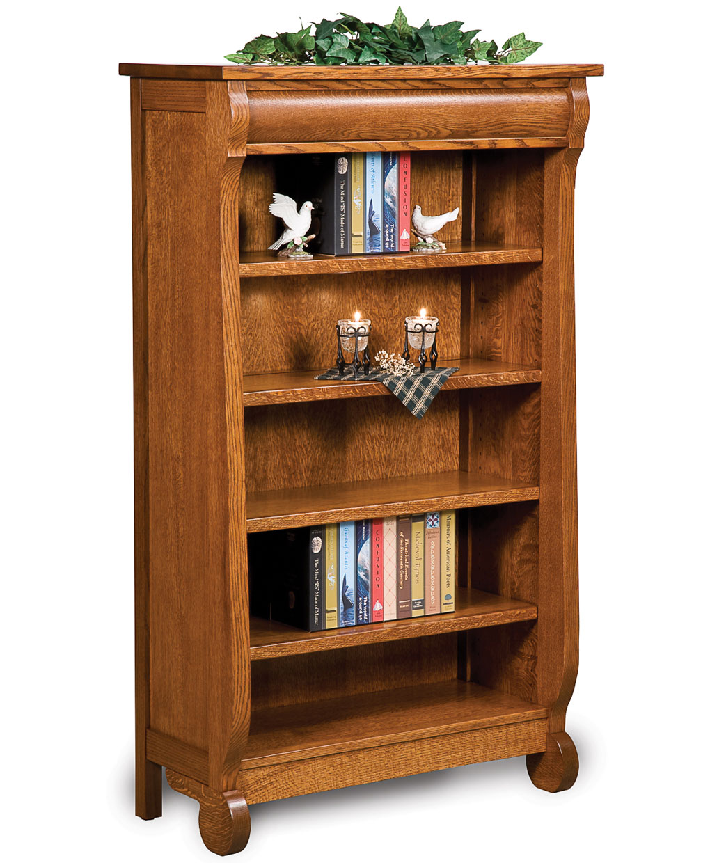 Old Classic Sleigh Open Bookcase Amish Direct Furniture