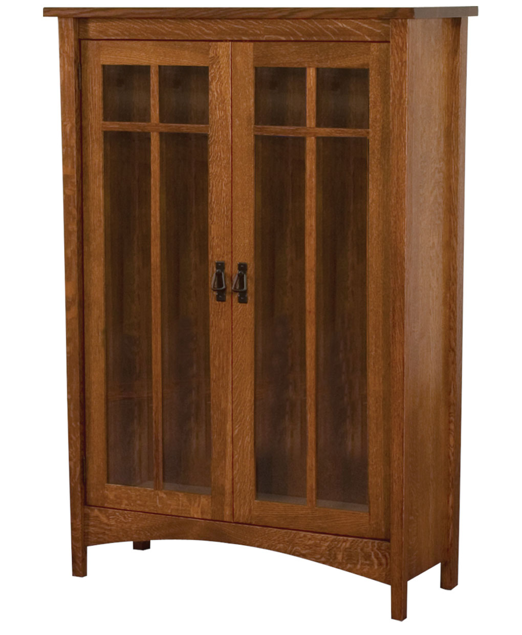 Arts and crafts 2 door bookcase amish direct furniture for Arts and crafts bookshelf