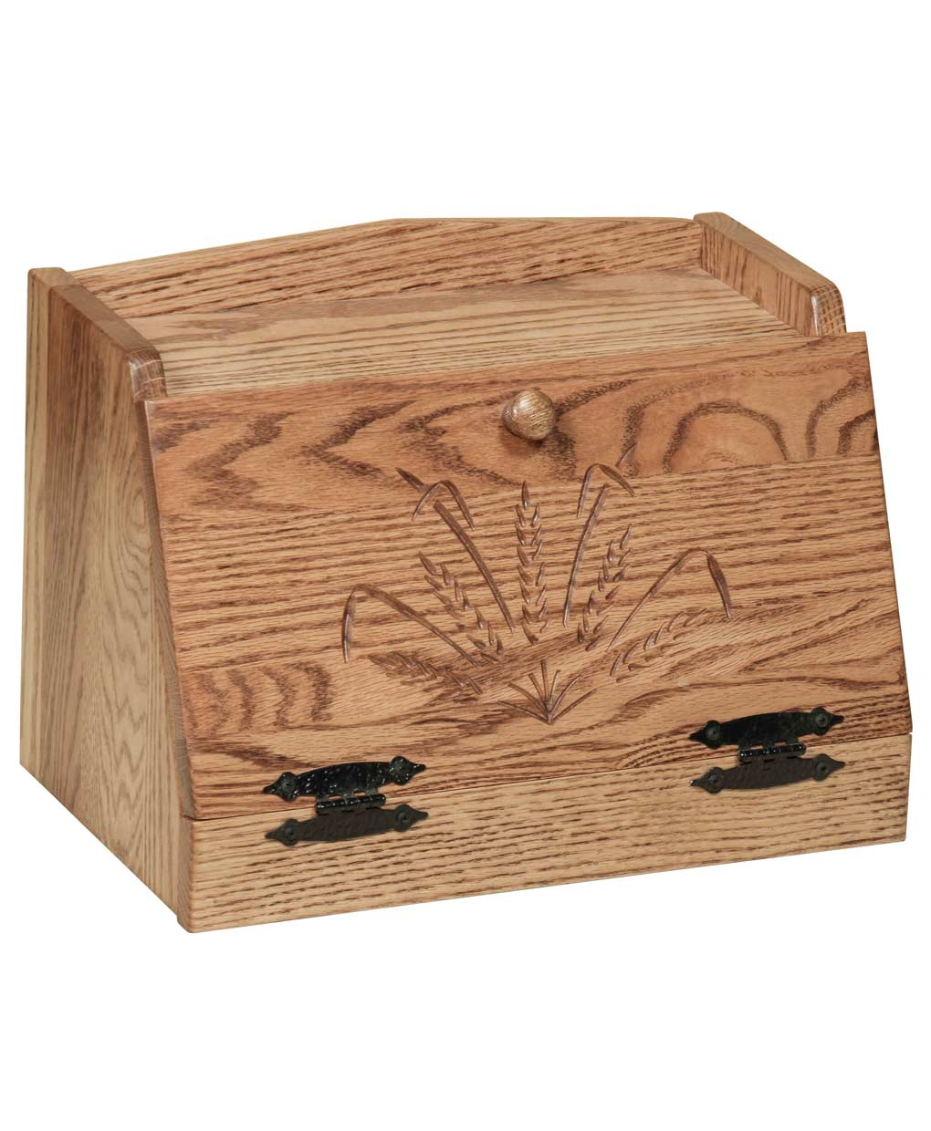 Oak Top Bread Box With Wheat Carvings Amish Direct Furniture