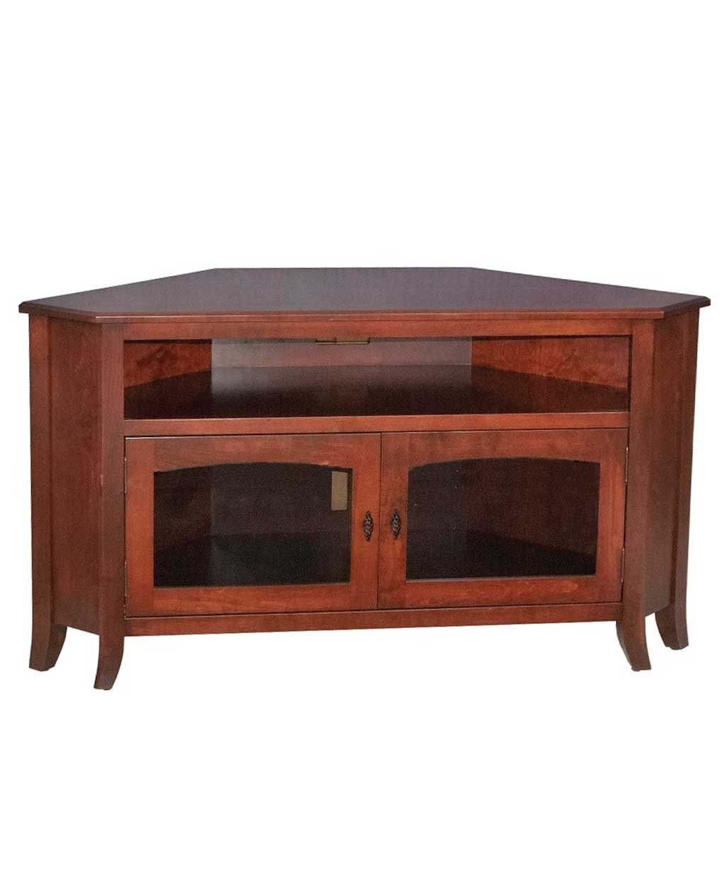 Young mission style 40 corner tv stand amish direct for Mission style entertainment center plans