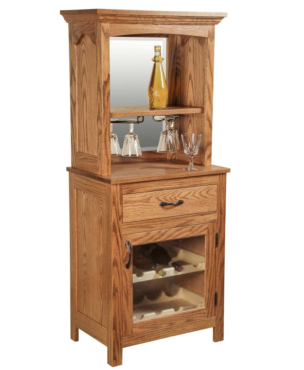 Solid oak wine rack amish direct furniture