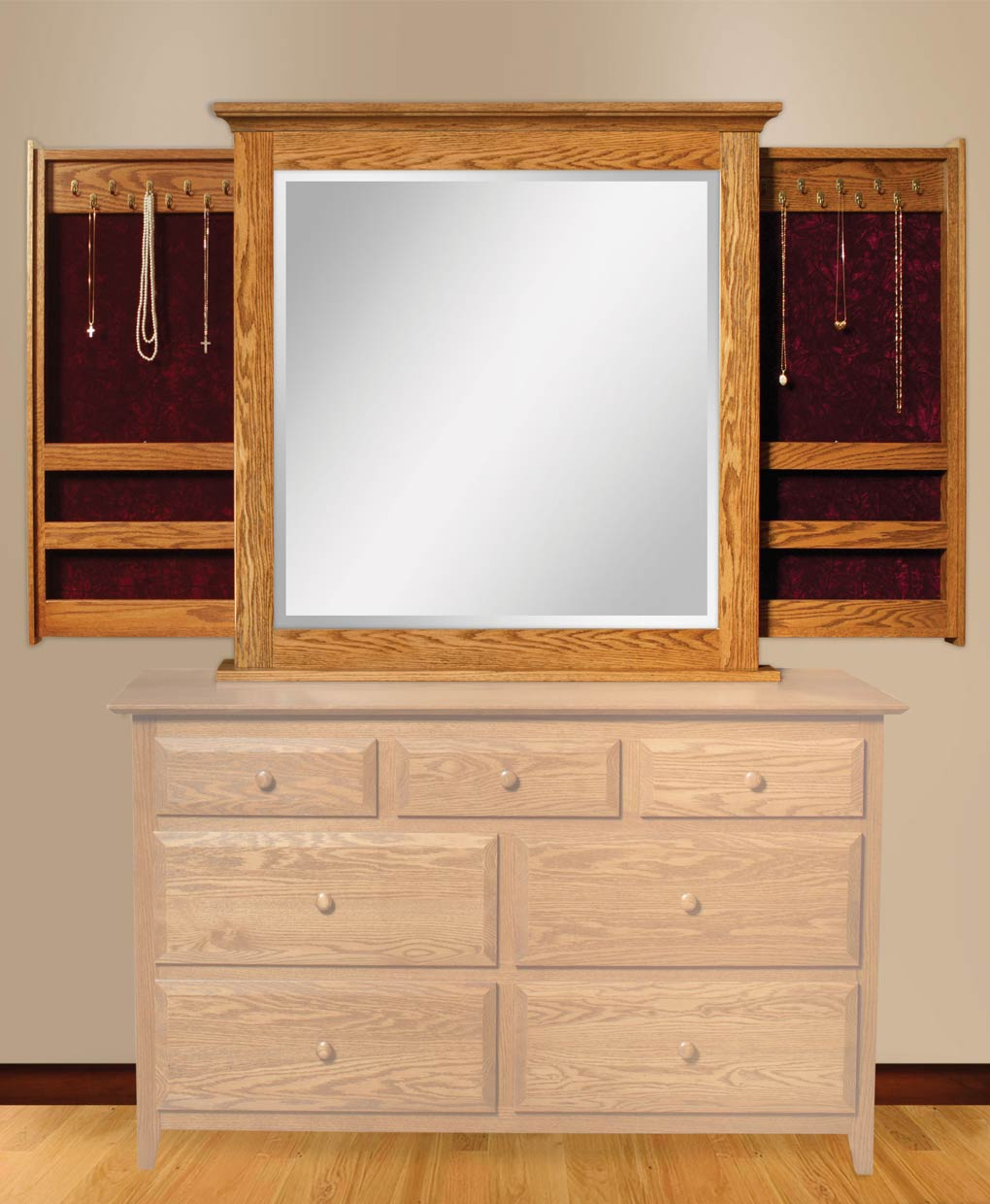 dresser mirror with jewelry wings amish direct furniture. Black Bedroom Furniture Sets. Home Design Ideas