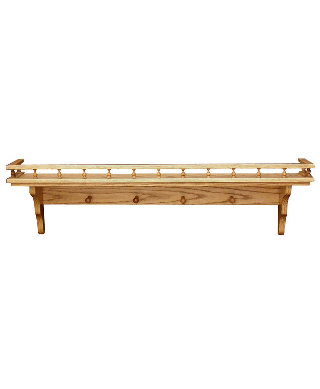 Wall Shelf with Pegs and Railing - Amish Direct Furniture