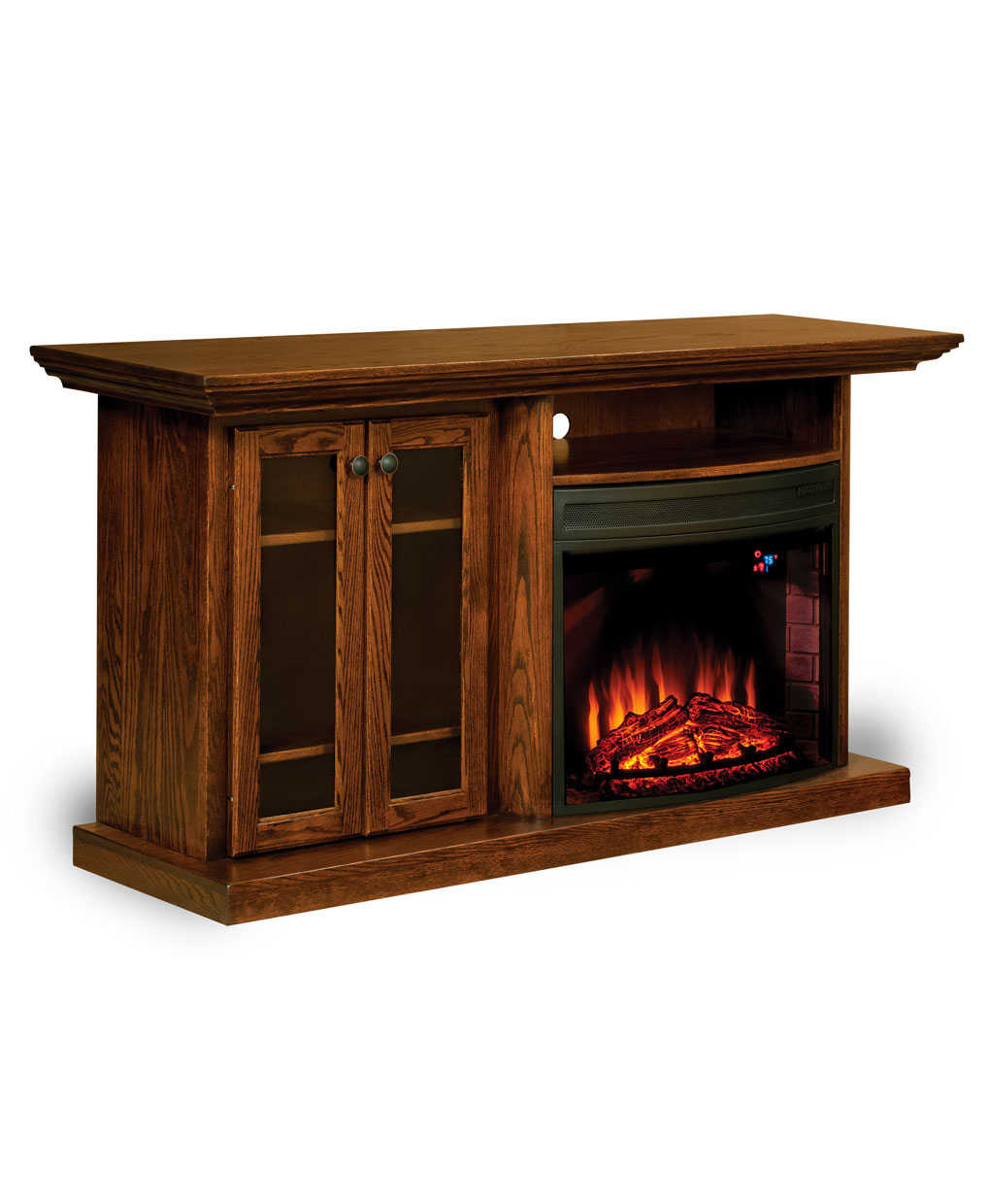 E series tv stand with space heater 203 amish direct for Living room heater