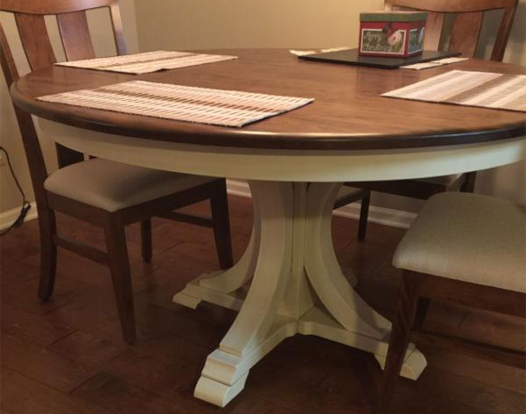[Customer's] Amish White Painted with Glaze Buckeye Table and Amish Sherwood Chairs [Amish Direct Furniture]