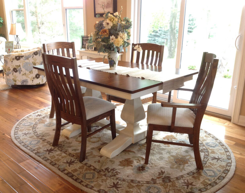 [Customer's] White Painted Table with Glaze [Amish Direct Furniture]