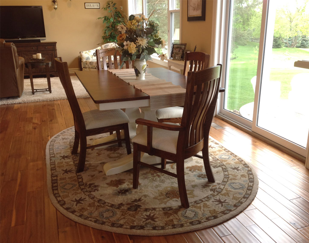 [Customer's] Amish White Painted with Glaze Table Set Room Shot [Amish Direct Furniture]
