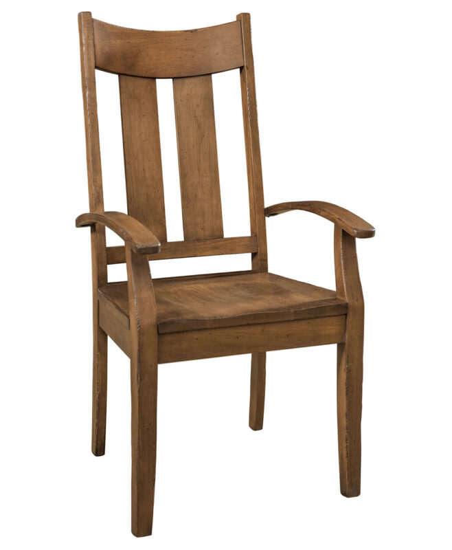 Aspen Dining Chair [Arm Chair. Shown in Brown Maple with a Weathered Log Finish]