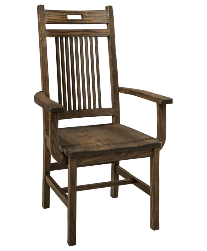 Bay Hill Amish Dining Chairs [Arm Chair. Shown in Oak with Weathered Grey Wood finish]