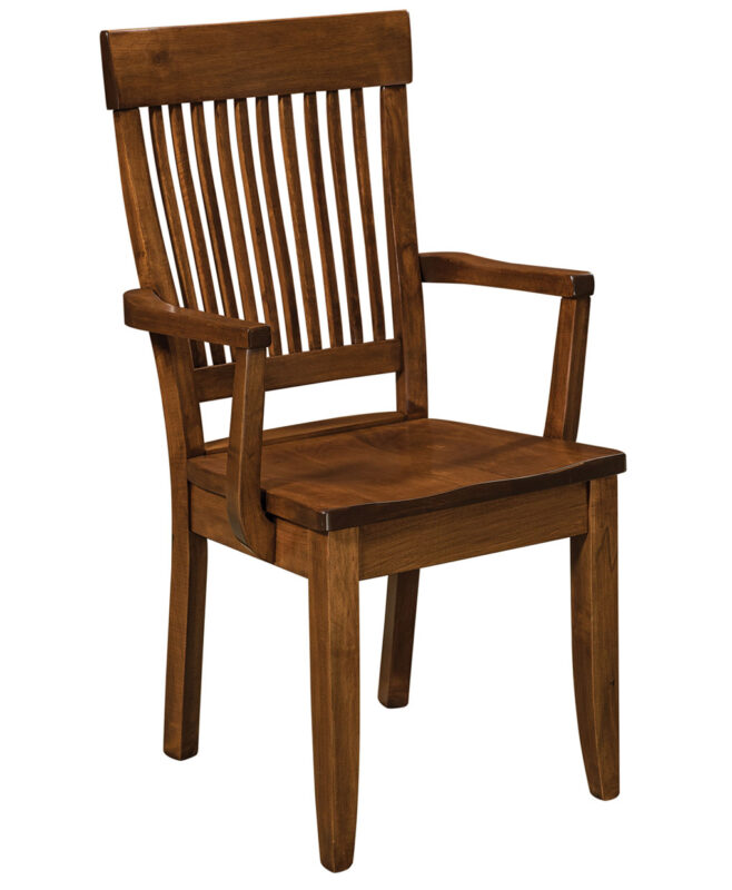 Jefferson Amish Dining Chair [Brown Maple Coffee stain / Arm Chair]