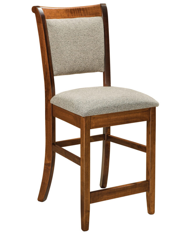 Kimberly Amish Bar Stool [Shown in Brown Maple, Michael's Cherry stain, and standard fabric seat]