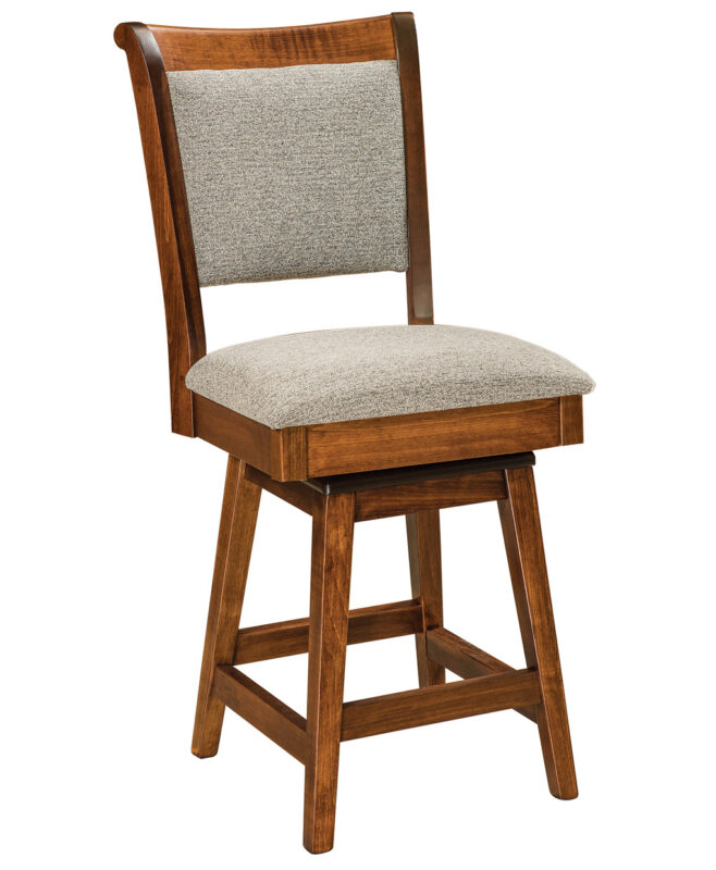 Kimberly Amish Swivel Bar Stool [Shown in Brown Maple, Michael's Cherry stain, and standard fabric seat]