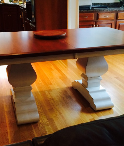 Wilmington Amish Trestle Table [Two Tone / Customer / Side View / Amish Direct Furniture]