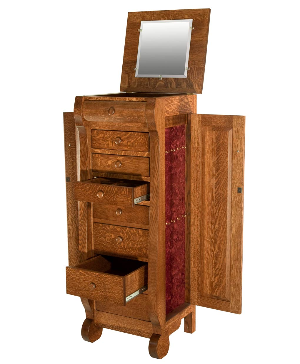 Classic Sleigh Jewelry Armoire Amish Direct Furniture