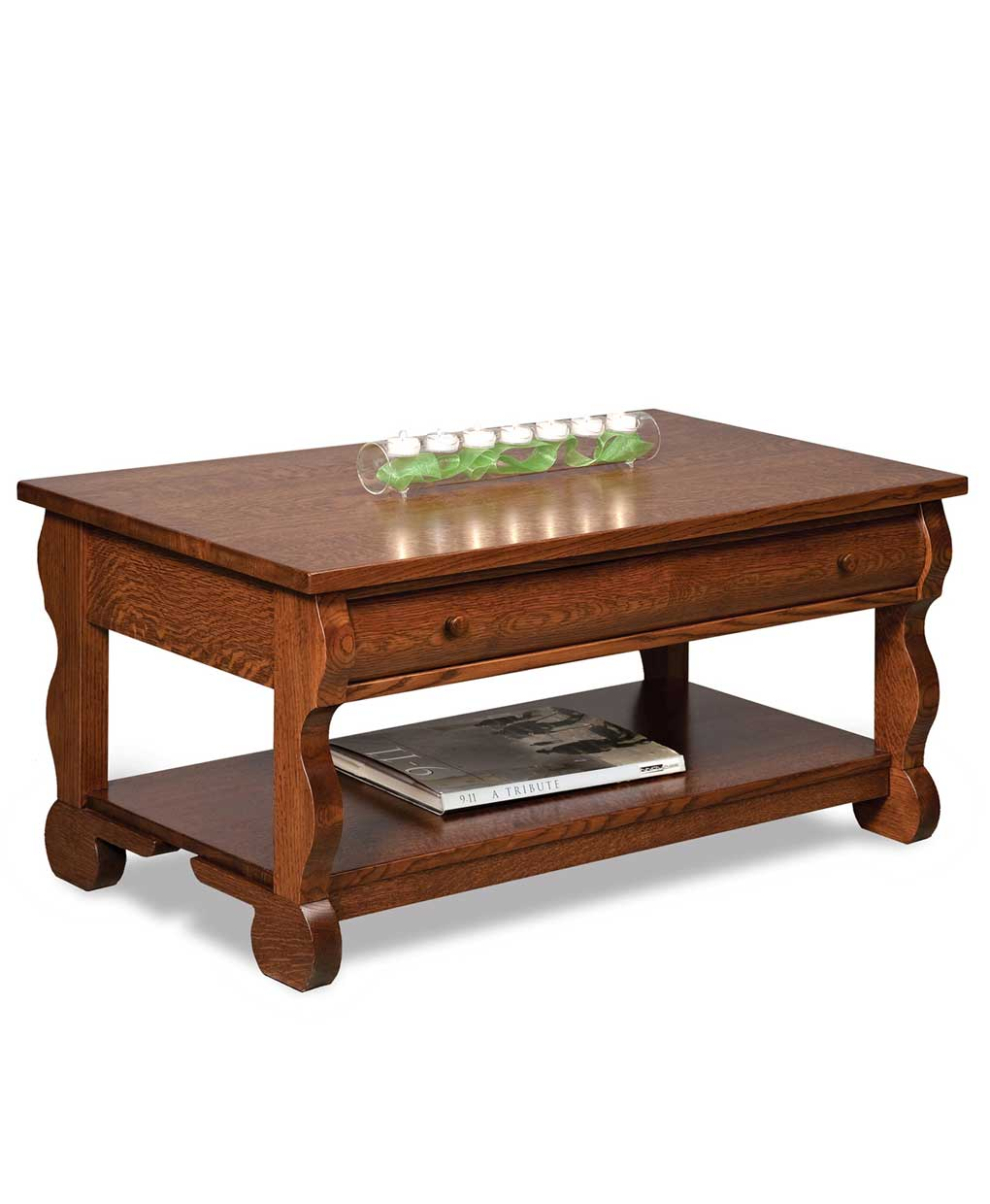 Letterpress Tray Coffee Table: Old Classic Sleigh Open Coffee Table With Drawer