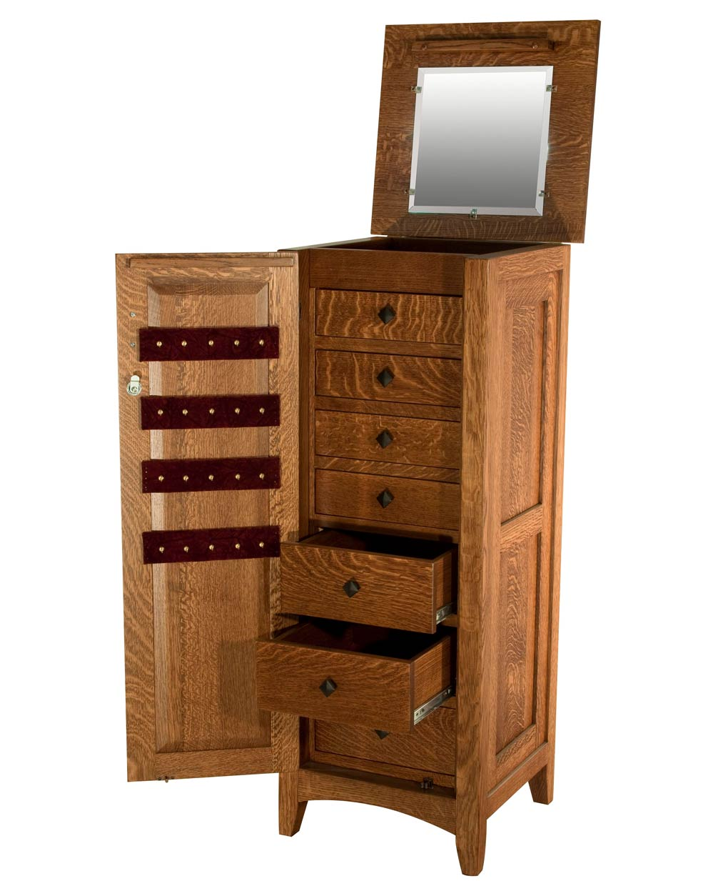 Flush Mission Jewelry Armoire with Lockable Door [Opened]