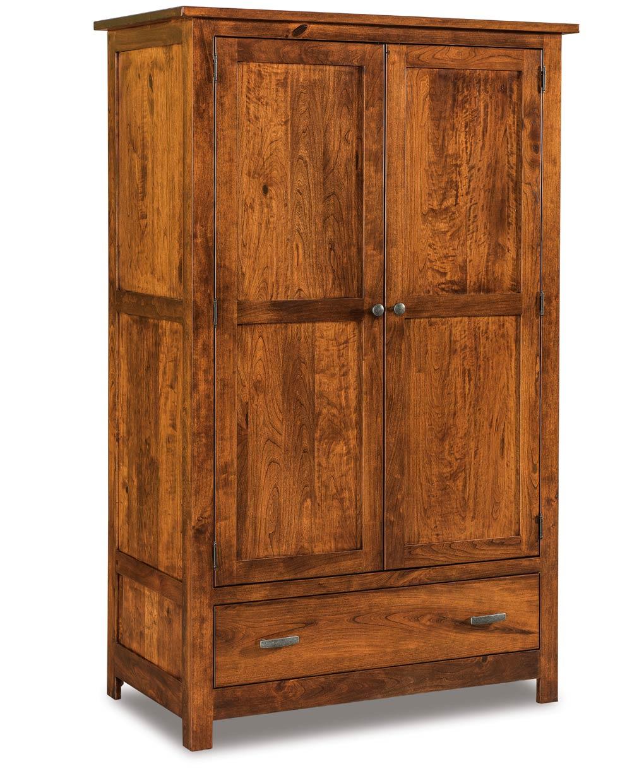flush mission wardrobe armoire amish direct furniture. Black Bedroom Furniture Sets. Home Design Ideas