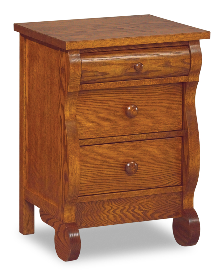 Old Classic Sleigh Narrow 3 Drawer Nightstand