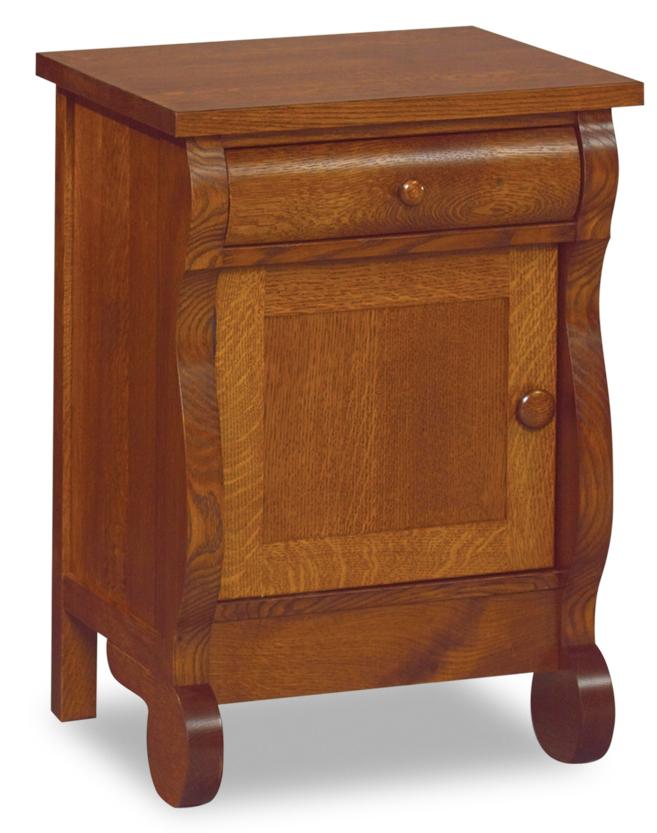 Old Classic Sleigh 1 Drawer 1 Door Nightstand