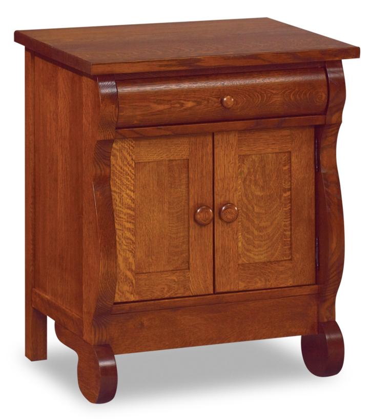 Old Classic Sleigh 1 Drawer 2 Door Nightstand