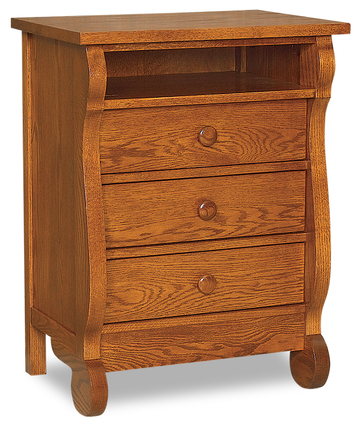 Old Classic Sleigh 3 Drawer Nightstand with Opening