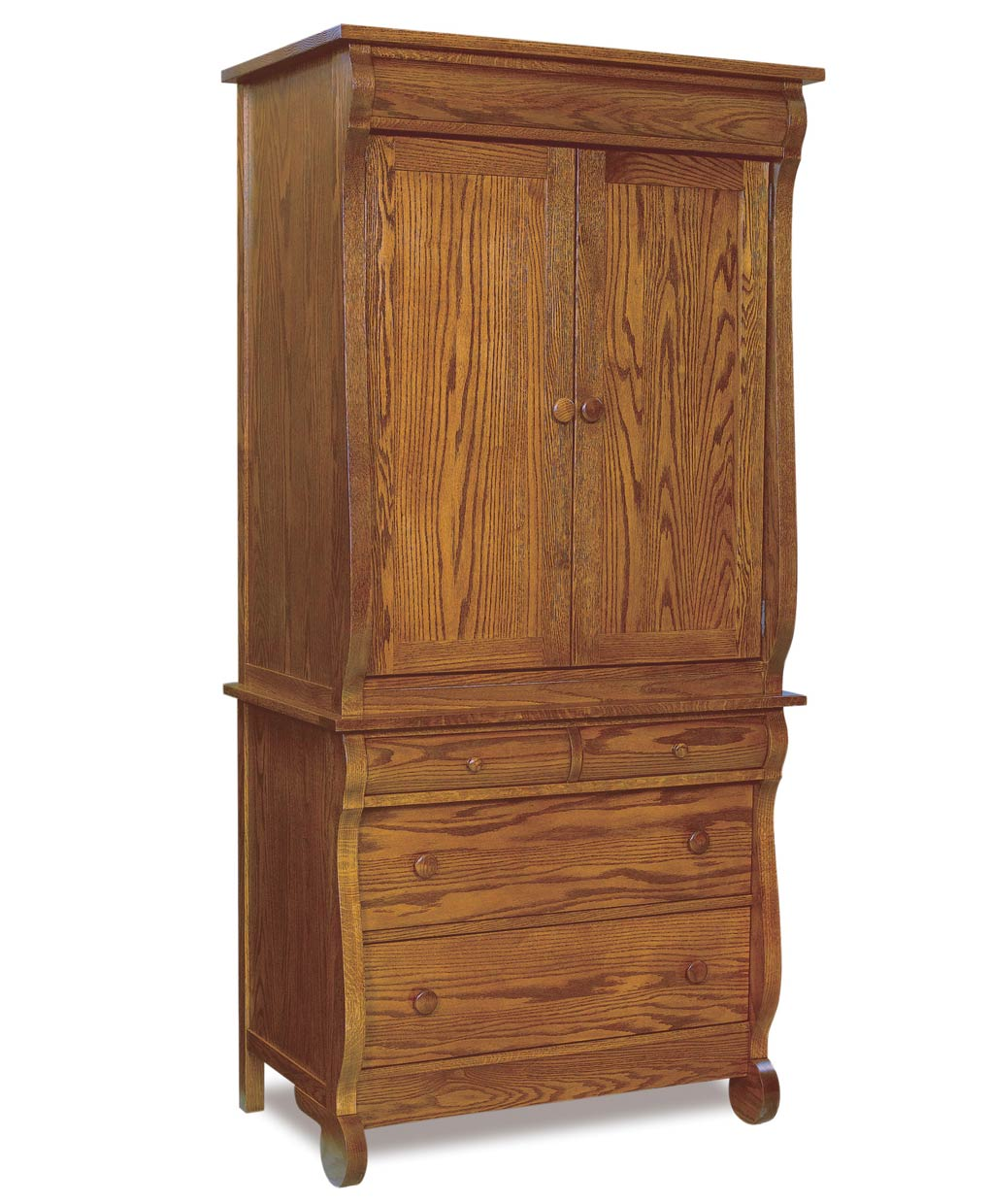 Old Classic Sleigh Narrow 4 Drawer 2 Door Armoire (2 Piece)
