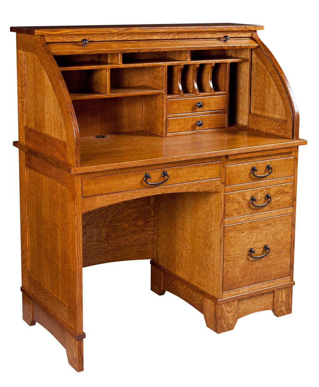 Amish Computer Secretary Desk Armoire Modesto Solid Wood: Single Pedestal Noble Mission Rolltop Desk