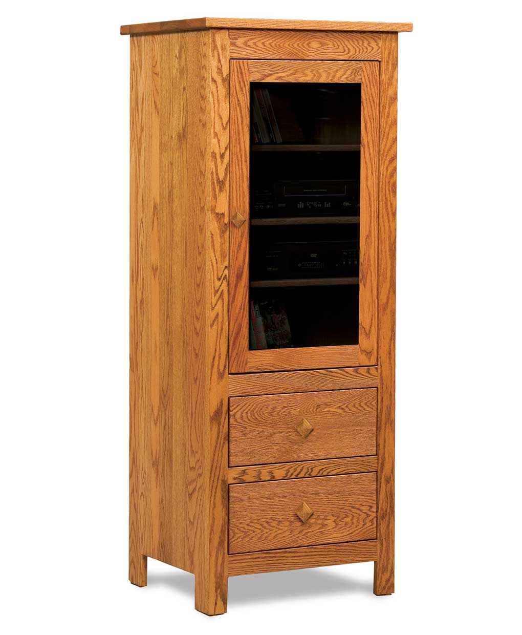 Mission 1 door 2 drawer stereo cabinet amish direct for 1 door cabinet