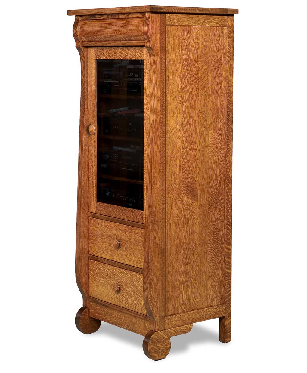 Old classic sleigh 1 door 2 drawer stereo cabinet amish for 1 drawer 2 door cabinet