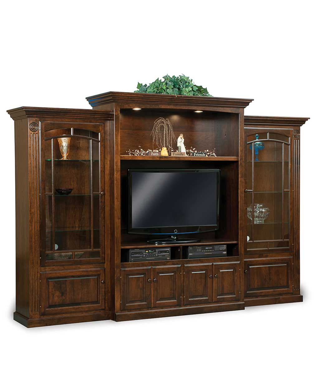 Victorian 3 piece wall unit amish direct furniture - Wall units for living room mumbai ...