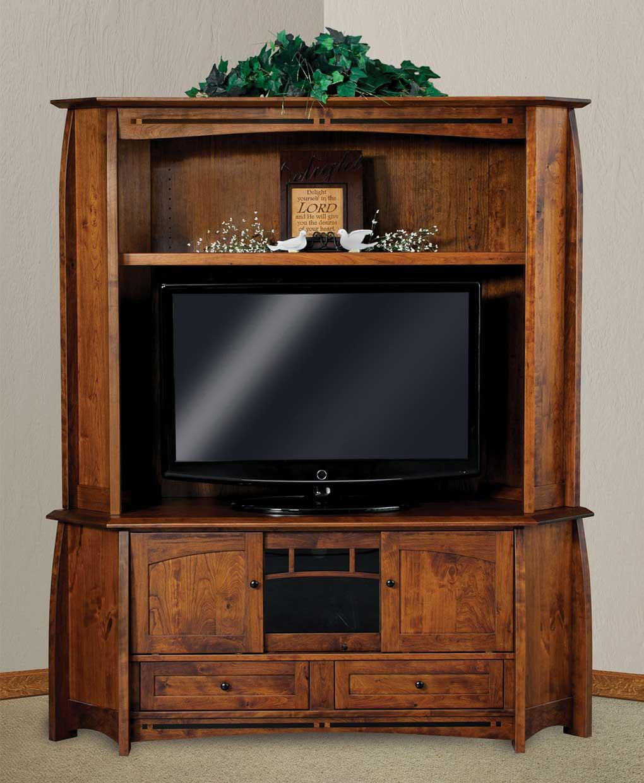 Pine Brook Boulder Mountain Residence Living Room: Boulder Creek Corner Media Console With Hutch