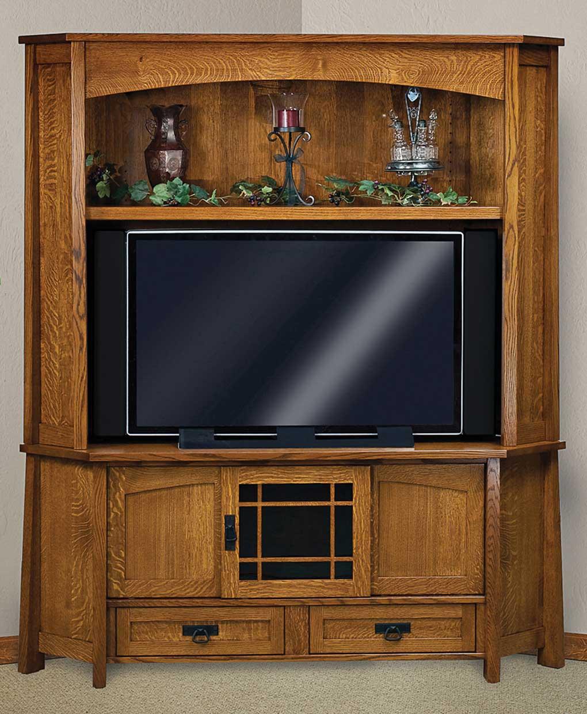 Modesto Corner Media Console with Hutch Amish Direct
