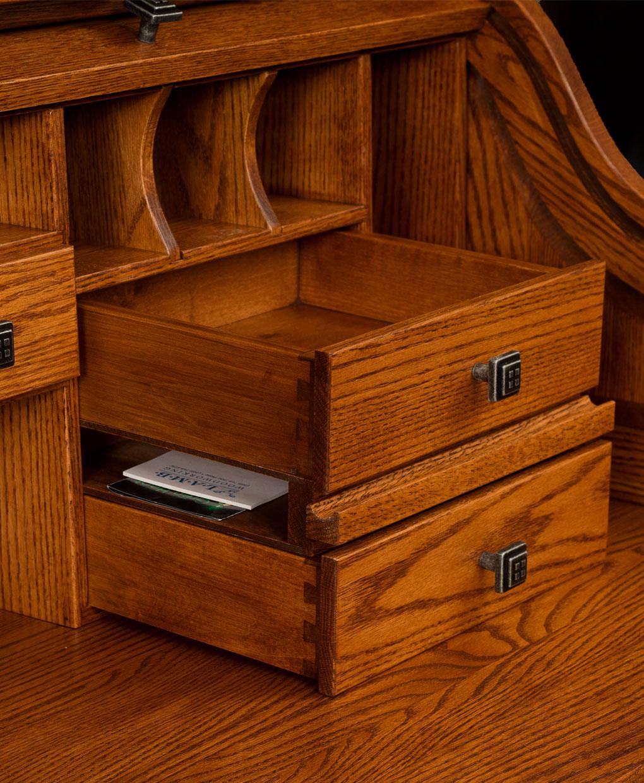 Oakwood Rolltop Desk Inside Detailed