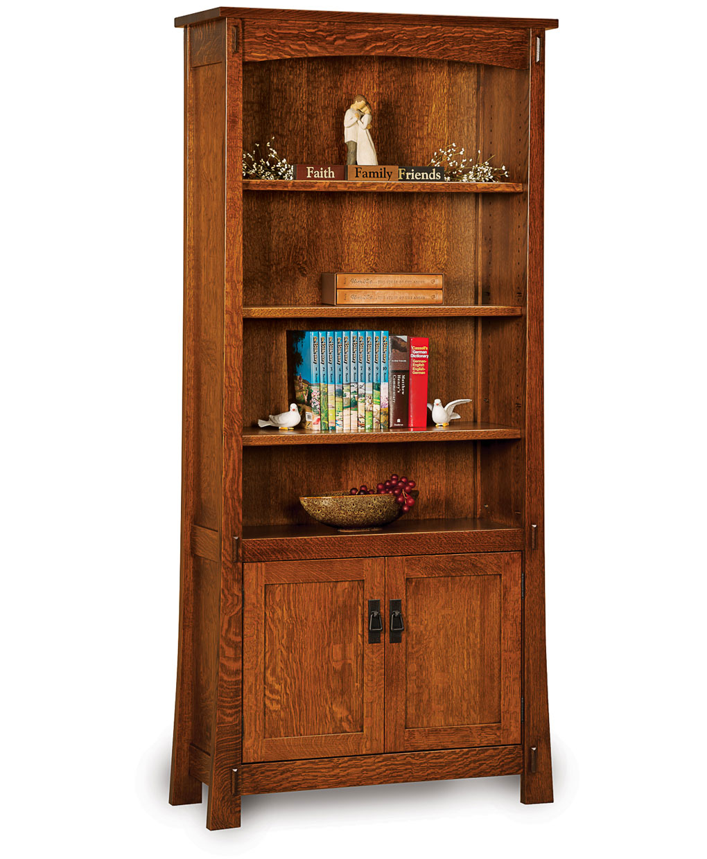 Modesto Bookcase With Doors Amish Direct Furniture