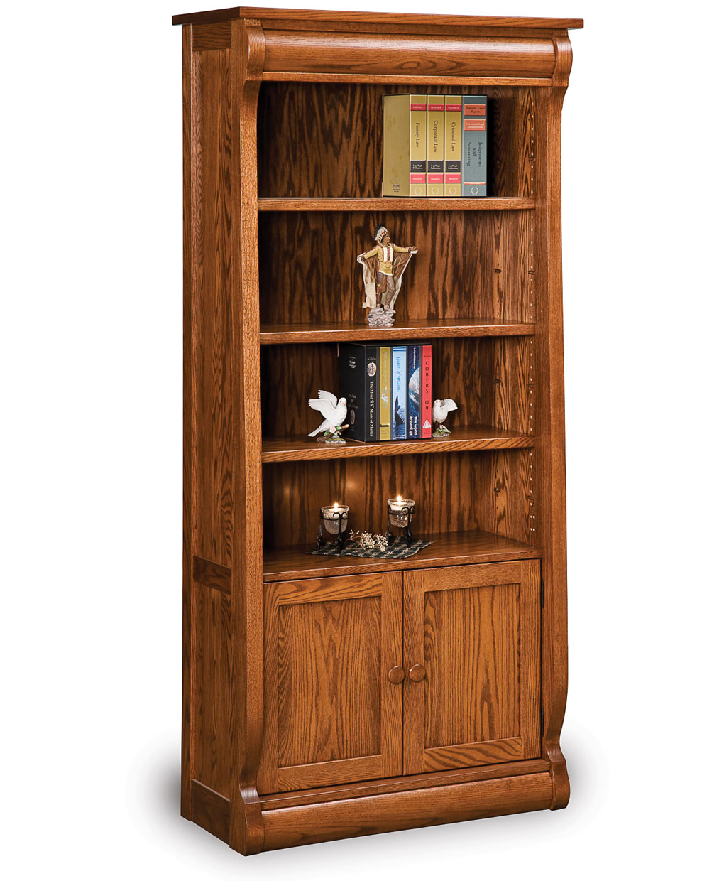 Old Classic Sleigh Bookcase with Doors - Amish Direct Furniture